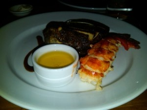 Bone-in Filet and Lobster Tail from Michael Jordan's SteakHouse. What did I think? http://maurpowerfoodie.wordpress.com/2012/04/09/michael-jordans-steak-house-mohegan-sun-casino/