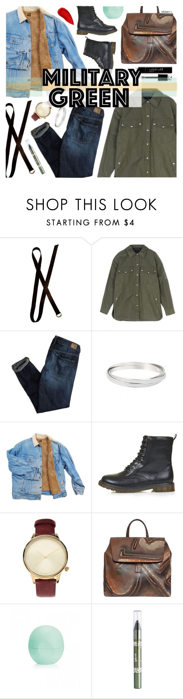 """Military Green"" by talukder ❤ liked on Polyvore featuring Dries Van Noten, Alexander Wang, American Eagle Outfitters, Topshop, Christian Dior, Komono, Eos, Barry M, Lipstick Queen and Gogreen"