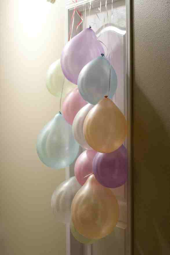 Nice idea for someone's special day...hang balloons outside of their bedroom door for a surprise in the morning.