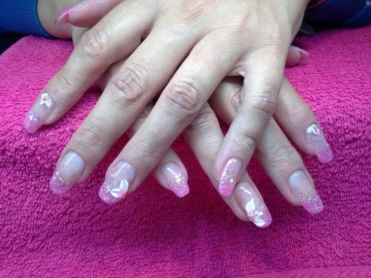 Roze met acryl bloemen