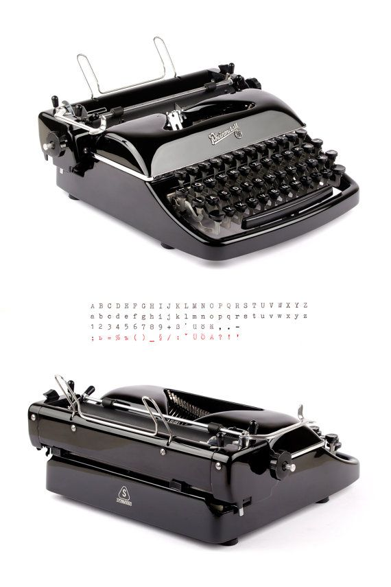 Typewriter Rheinmetall KsT - 50s - glossy black - working typewriter - vintage - portable with case