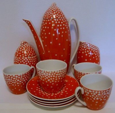 This is a highly collectable and very stylish Retro Ceramic Coffee Set from a now liquidated factory in Poland, manufactured, I believe, in the 1960s. This is an 11-piece Coffee Set, comprising: Coff