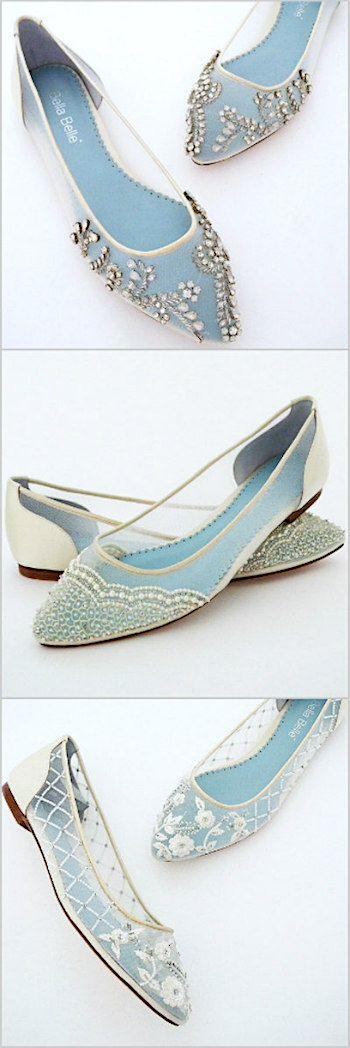 Romantic flat wedding shoes. The prettiest flat bridal shoes by Bella Belle.