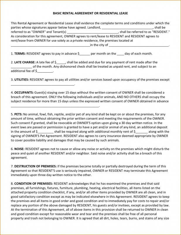 Basic Rental Agreement Or Residential Lease template Pinterest - Residential Rental Agreement