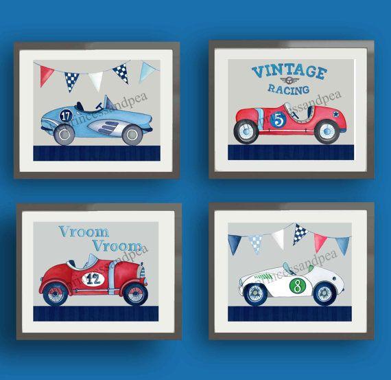 Jahrgang Rennen Auto Kunst, Rennen Autos Kinderzimmer Kunst, Rennen Auto Kunst Wanddekoration, Kunstdrucke von jungen Kinderzimmer