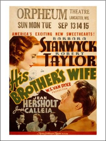 2/02/15  1:04a MGM Film   ''His Brother's Wife'' Barbara Stanwyck  Robert Taylor   1936