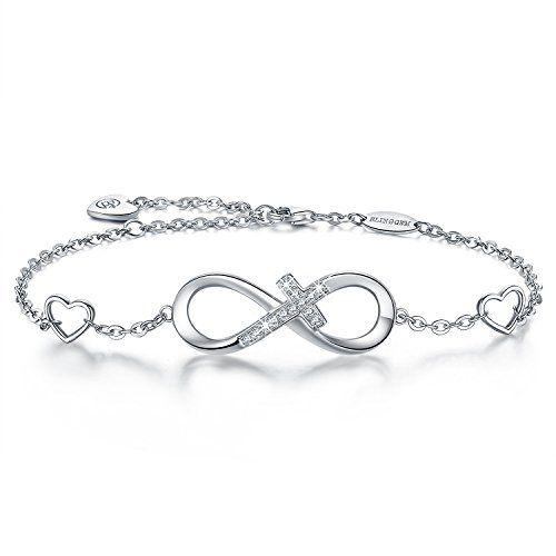 beb7da598d17f BlingGem Bracelet pour Femme Croix Infini en Or Blanc Plaqué Argent ...