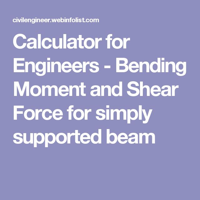 Calculator for Engineers - Bending Moment and Shear Force for simply supported beam