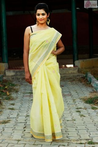 Captivating An Enchanting Chanderi Saree Done In A Delicate Shade Of Lemon Yellow. This  Drape Will Captivate You Like No Other. The Chikan Embroidery Has Been Done  In ... Good Looking