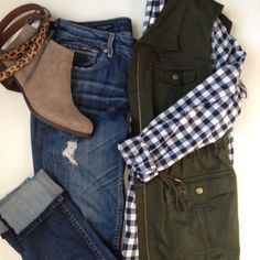 Olive Vest, J. Crew GIngham, Lucky Brand Booties, Vigoss Thompson