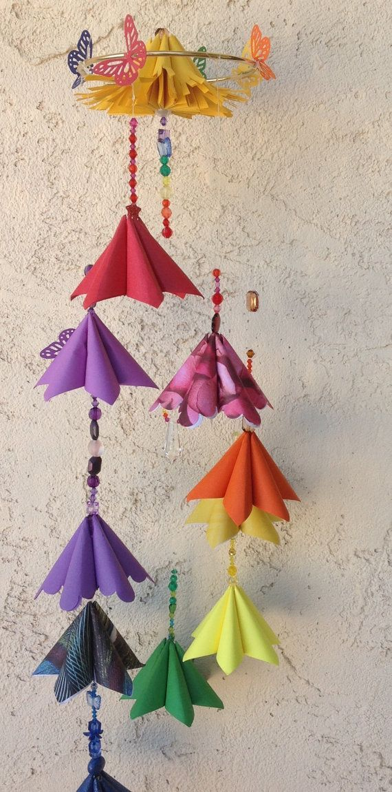 Origami Flower Rainbow Mobile By Gracelinepaperstudio On Etsy