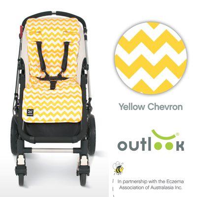 Outlook Cotton Pram Liner Yellow Chevron