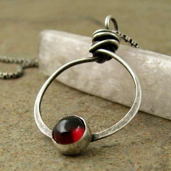 Modern Sterling Silver Red Garnet Necklace, Unique Garnet Jewelry, January Birthstone