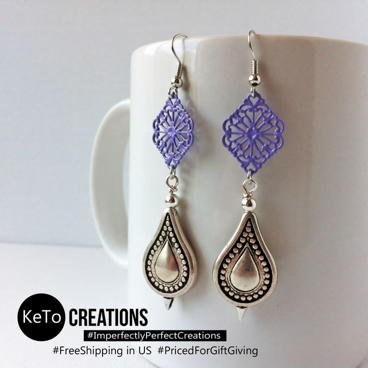 """""""Lavender Teardrops"""" by KeTo Creations #HandCrafted #Earrings #Lavender #GiftsForHer #SurpriseGift #ImperfectlyPerfectCreations #FreeShipping in the US #PricedForGiftGiving #JustOpenedOurStore #ShopLikeWeHave5StarRating #WeShipASAP #PinNowViewLater"""