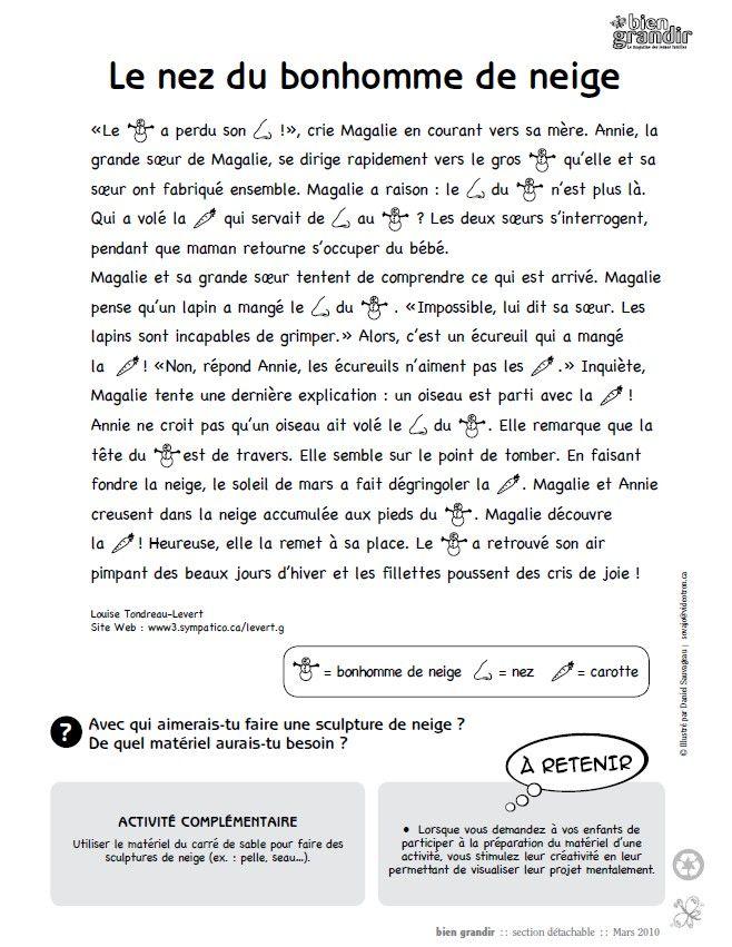 Le nez du bonhomme de neige : une histoire en texte et en images pour enfant de 1 à 5 ans. Téléchargez et imprimez le conte. #enfant #conte