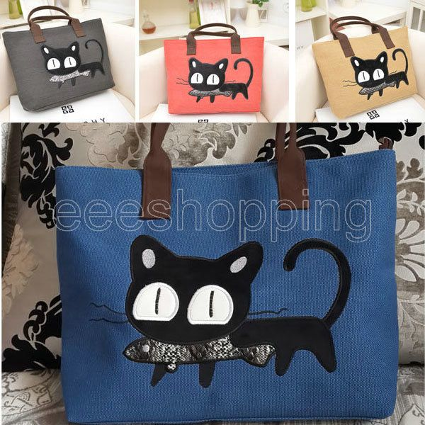P146 Women Ladies Girl Handbag Casual Animal Cat Print Cartoon Canvas Daily Shopping Soft Sling Shoulder Bag Tote Purse Foldable $10.99