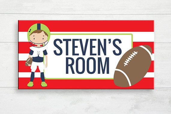 Boy's Football Door Sign Football Kids Room Football