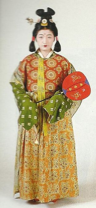 """Scan N2: Court lady of the Nara Period (710-784) , Japan. Textiles during this period of Japan were often brocade ones heavily influenced by China (and in some cases the cloth itself was directly imported from that country) . Scan from book """"The History of Women's Costume in Japan."""" Scanned by Lumikettu of Flickr. Japanese costume many centuries ago…recreation accomplished in Kyoto during the 1930's"""
