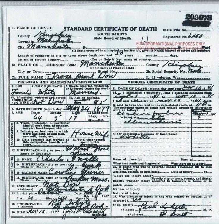 Grace Ingalls   Grace Ingalls Death Certificate