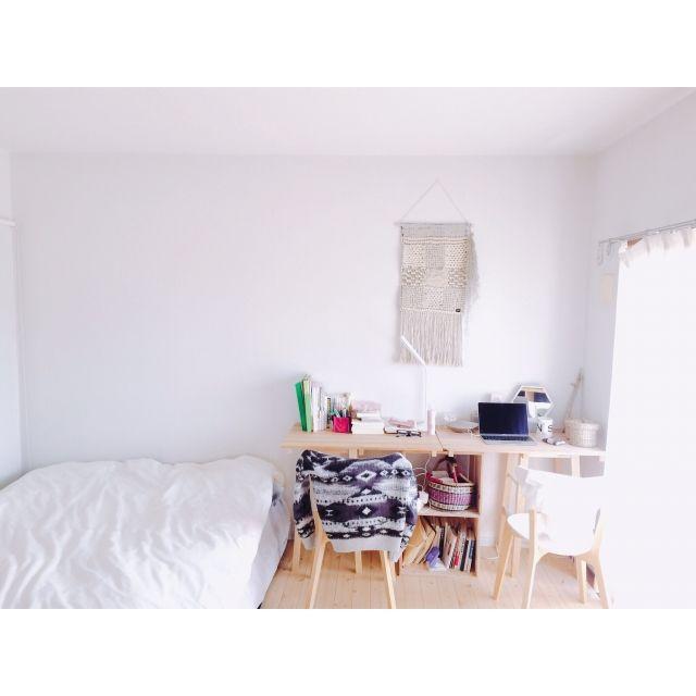 Mikiさんの、Macのある部屋,賃貸でも諦めない!,クッションフロア,床DIY,すのこ,ワークデスク,IKEA,グリーンのある暮らし,賃貸,DIY,ウォールハンキング,Bedroom,のお部屋写真