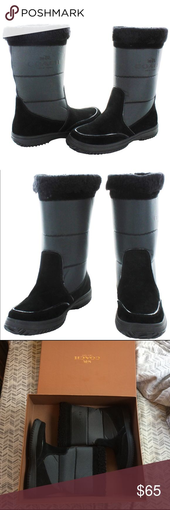 "NEW Coach Sherman cold weather boots New in box. 100% authentic. Black. Nylon, suede and shearling lining. Logo on outside of boot. Super warm and comfortable. Height 10"". Circumference 14.5-15"". Priced to sell so price pretty firm!!! Coach Shoes Winter & Rain Boots"