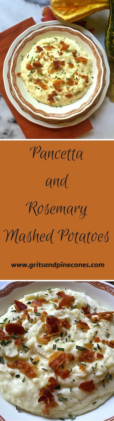 Pancetta and Rosemary Mashed Potatoes is a new, delicious twist on a traditional classic.  And, it is a perfect Thanksgiving side dish, guaranteed to wow your family and friends. www.gritsandpinecones.com