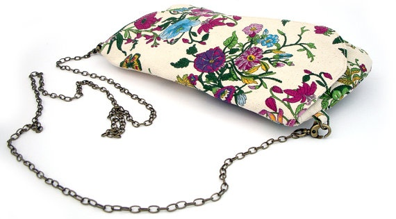 Spring printed flower Canvas Clutch featured a by TahelSadot. $49.00, via Etsy.: Brown Leather Bags, Clutch Featured, Ipad Case, Flower Canvas