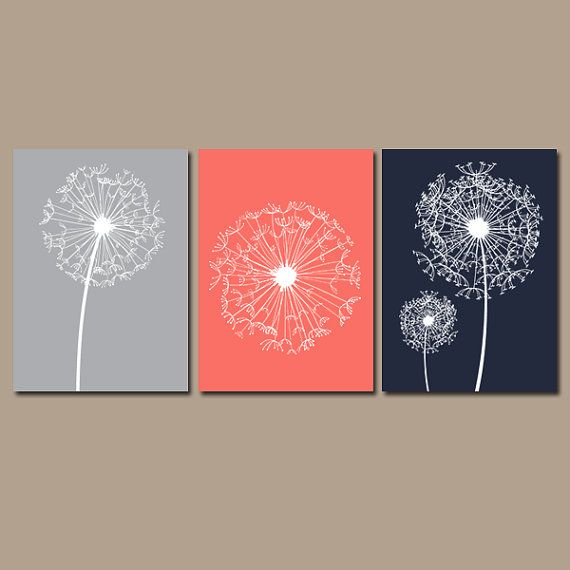 DANDELION Wall Art Coral Navy Gray Flower Artwork by TRMdesign