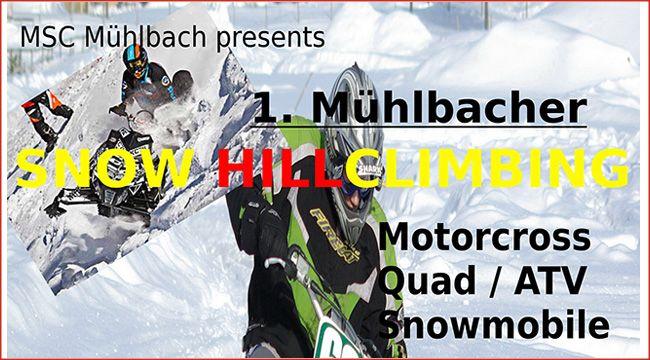 Auch für ATVs und Quads: Snow Hillclimbing 2016 in Mühlbach Bei der ersten Veranstaltung des MSC Mühlbach, dem Snow Hillclimbing 2016 in Mühlbach am 20.2., sind neben Motocross-Maschinen auch ATVs und Quads willkommen http://www.atv-quad-magazin.com/aktuell/auch-fuer-atvs-und-quads-snow-hillclimbing-2016-in-muehlbach/ #quadsport #hillclimbing #offroad #motorsport