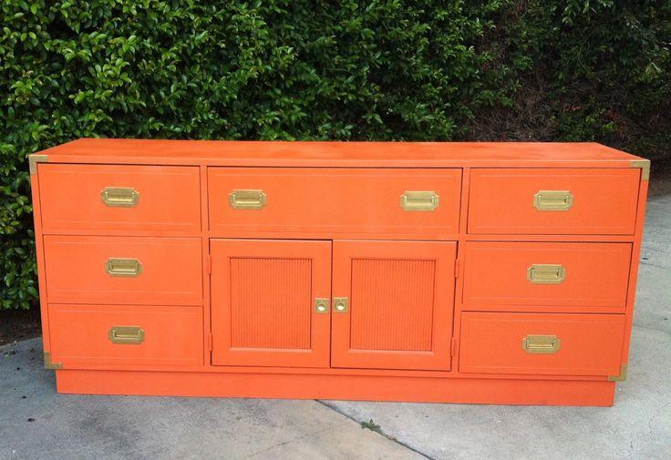 Retro cantaloupe orange + gold triple dresser.