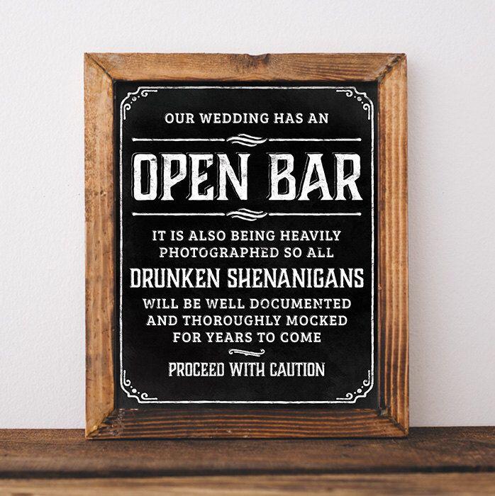 Chalkboard wedding signs. Printable Open bar wedding sign. Open bar sign. Bar sign for wedding. Wedding open bar. Rustic chalkboard poster by SunnyNotes on Etsy https://www.etsy.com/ca/listing/250318641/chalkboard-wedding-signs-printable-open