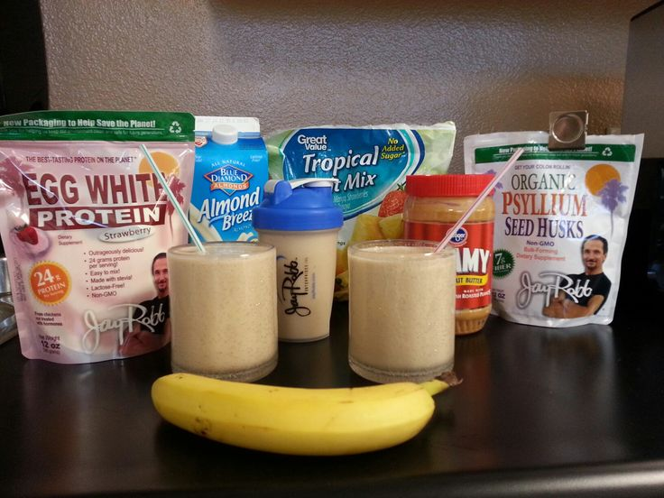 Jay Robb Banana Blast Protein ShakeCup Almond MilkScoop Jay Robb Whey Or Egg White Strawberry Protein PowderTablespoon Peanut Butter