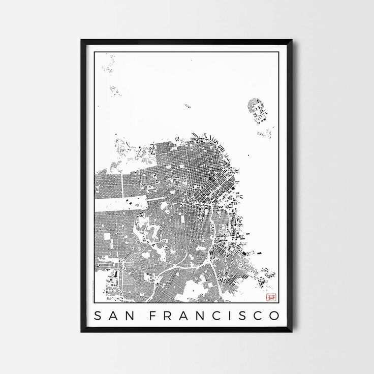 San Francisco schwarzplan map art city posters. Unique interior decor idea for offices art posters or kitchen art prints.  Minimalist city art gifts for travelers as framed art or canvas wall art. Urban plan map style. print, poster, gift | CityArtPosters.com