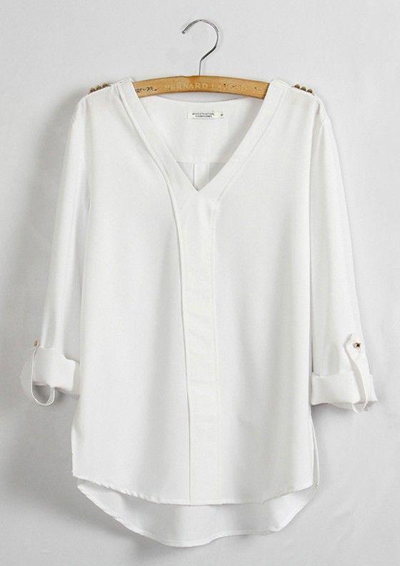White Plain Epaulet V-neck Long Sleeve Chiffon Blouse