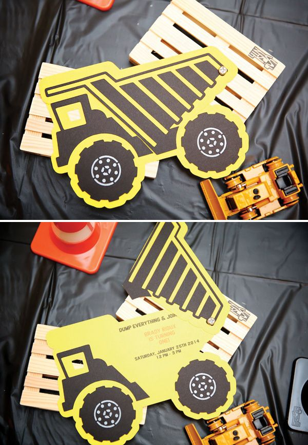 Dump Truck Birthday Party Invitation (super cute DIY)
