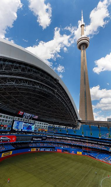 The Toronto Rogers Centre where the Toronto Blue Jays play.