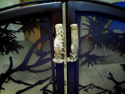 Custom #Fireplace Screen with Elk Antler Door Handles