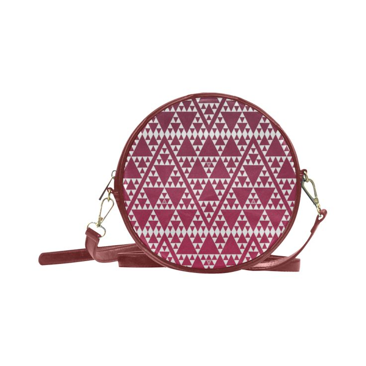 triangles in triangles pattern blk rainbow Round Sling Bag (Model 1647)
