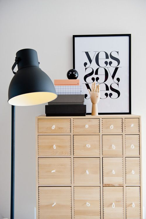IKEA HEKTAR u2022 Inspiration with Lamps u2022 Pinterest Dark wood furniture, Wall desk and Shape