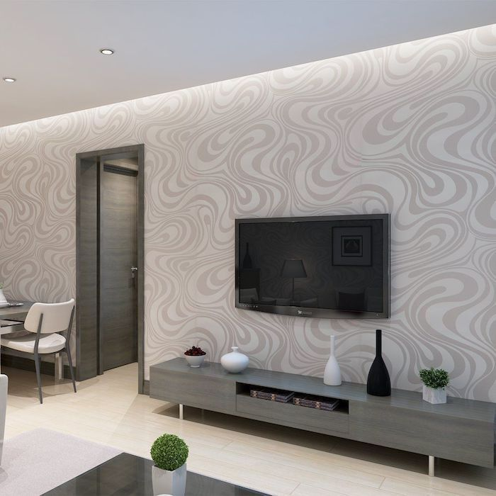 White Grey Patterned Wallpaper Dining Room Wall Decor Wooden Cabiner Fl Geometric Wallpaper Living Room Grey Wallpaper Accent Wall Modern Wallpaper Living Room