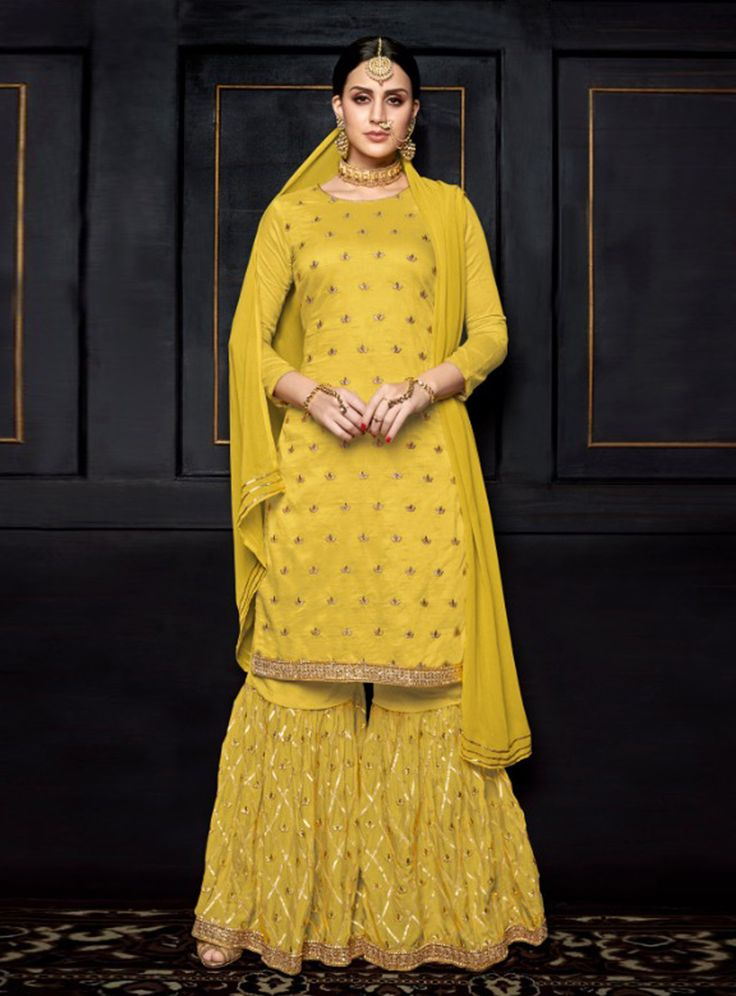 Yellow Viscose Sharara Style Suit 144676 | Sharara Suit in 2019 | Salwar suits, Palazzo suit ...