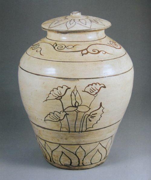 분청사기 연꽃무늬 항아리(粉靑沙器 鐵畵 蓮花文 壺)