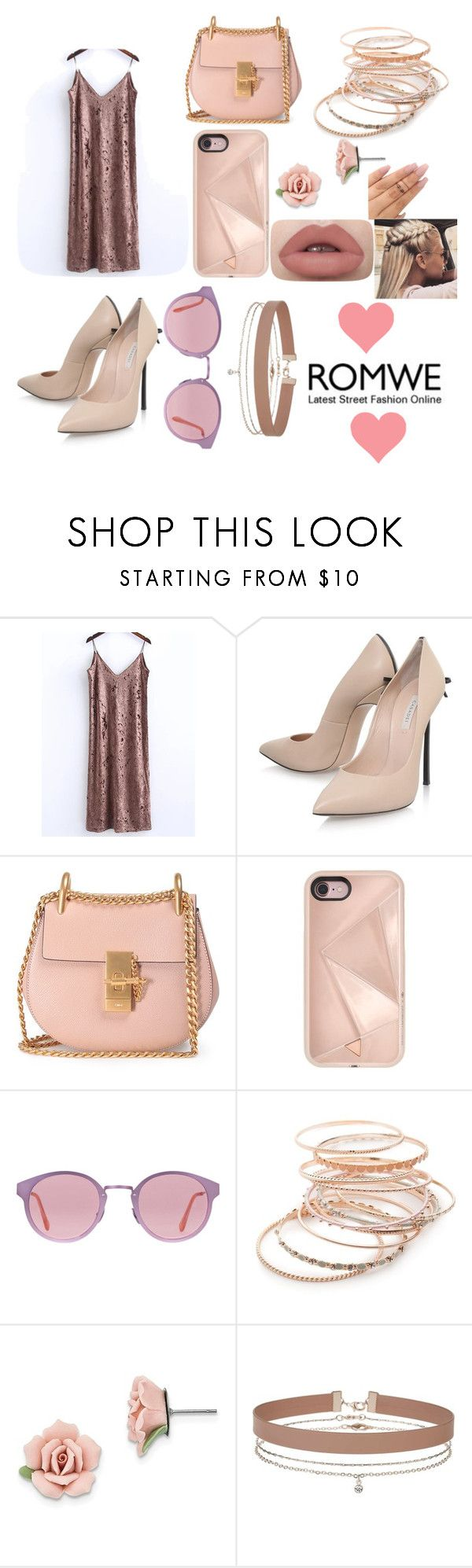 """""""rose gold cami dress"""" by norinnyc ❤ liked on Polyvore featuring Casadei, Chloé, Rebecca Minkoff, RetroSuperFuture, Red Camel, 1928 and Miss Selfridge"""