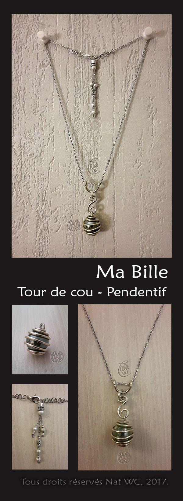 Tour de cou - Pendentif « Ma bille »  - Réalisation [ Fait-Main ] avec du fil d'aluminium et une bille Perle verte (année 90). / Ref. : Tour-de-cou_Pendentif_Ma-bille.