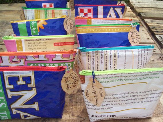 Cosmetic Bag or Pencil Pouch, upcycled Feed Bags