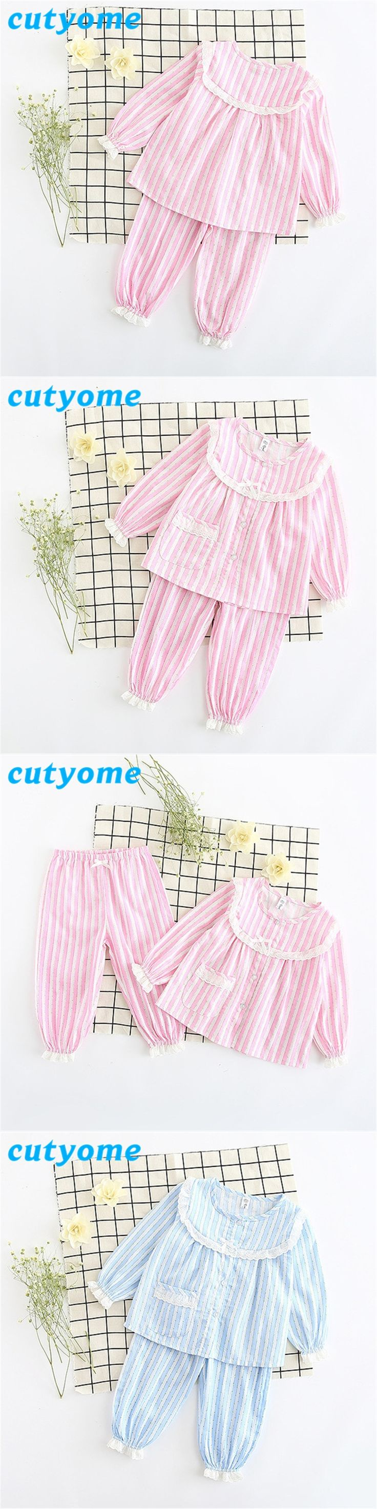 Autumn Children's Pijamas Set Cutyome Long Sleeve Floral Lace Striped Pyjamas For Toddlers Kids Baby Girls Nightwear Pajamas Set