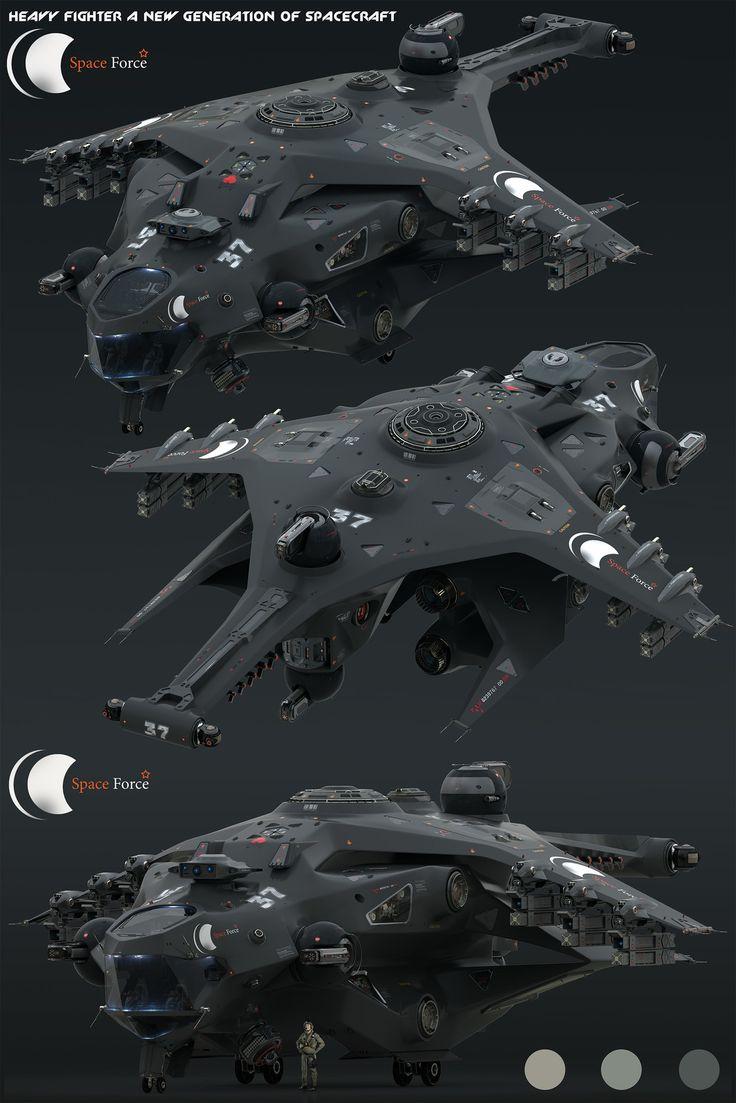 Heavy Fighter for Space Force, Oshanin Dmitriy on ArtStation at https://www.artstation.com/artwork/nO60X
