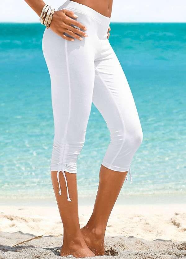 Beachtime White Capri Leggings