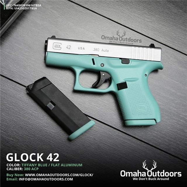 Glock 42 G42 Tiffany Blue 380 ACP Mint Teal NEW : Semi Auto Pistols at  GunBroker