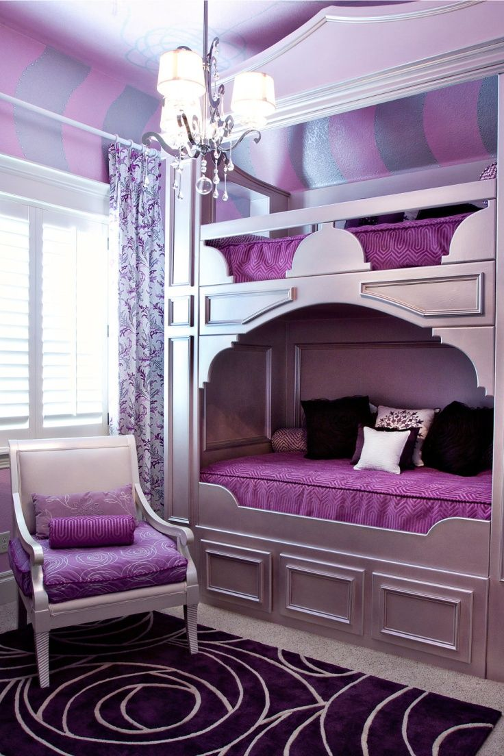 Admirable Teenage Girls Room Design Inspirations : Small Elegant Purple Teenage Girls Room Decorating with Bunk Bed and Purple Patterned Rug